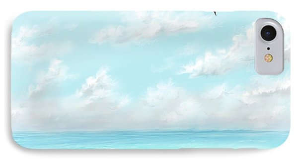 IPhone Case featuring the digital art The Waves And Bird by Darren Cannell