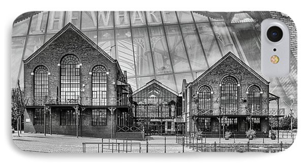 The Wharf Cardiff Bay Mono IPhone Case by Steve Purnell