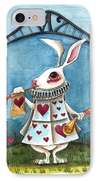 The White Rabbit Announcing IPhone Case by Lucia Stewart