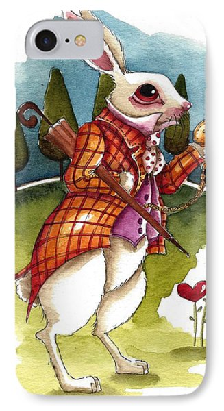 The White Rabbit Is Late IPhone Case by Lucia Stewart