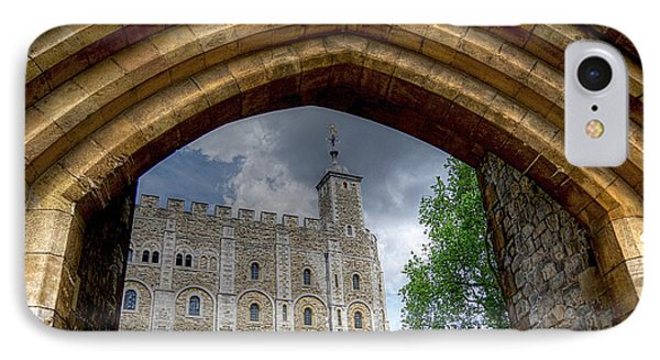 The White Tower Through A Portal IPhone Case by Karen McKenzie McAdoo