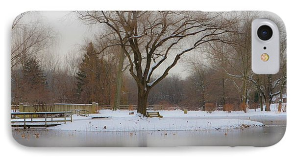 The Willows Park - Newtown Square In Winter IPhone Case by Bill Cannon