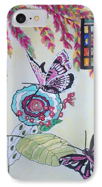 IPhone Case featuring the painting The Window To The Butterfly World by Connie Valasco