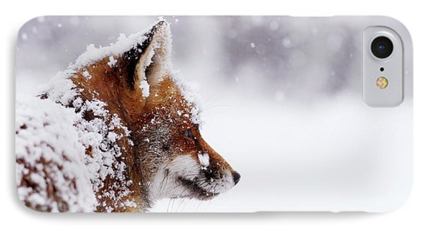 The Winterwatcher - Red Fox In The Snow IPhone Case by Roeselien Raimond