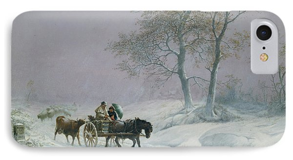 The Wintry Road To Market  IPhone Case by Thomas Sidney Cooper