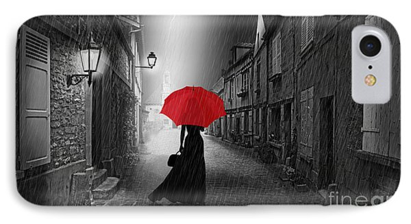 The Woman With The Red Umbrella Phone Case by Monika Juengling