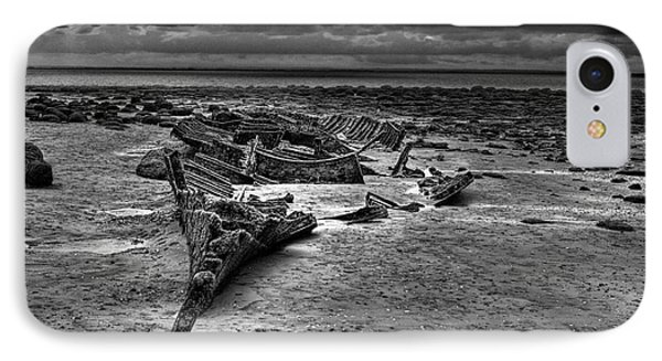 The Wreck Of The Sheraton In Black And White IPhone Case by John Edwards