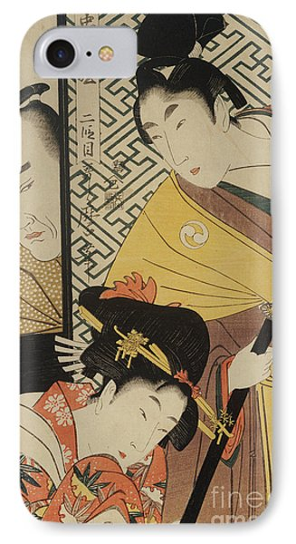 The Young Samurai, Rikiya, With Konami And Honzo Partly Hidden Behind The Door IPhone Case