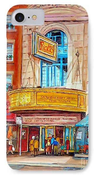 Theatre Rialto Ave. Du Parc Montreal Phone Case by Carole Spandau