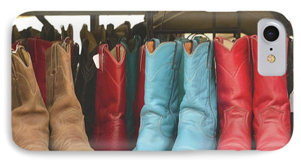 Them Boots, Turquoise And Red IPhone Case by Nadalyn Larsen