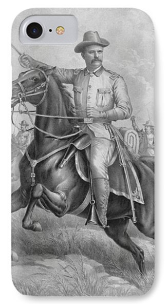 Theodore Roosevelt On Horseback  IPhone Case by War Is Hell Store