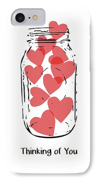 Thinking Of You Jar Of Hearts- Art By Linda Woods IPhone Case by Linda Woods