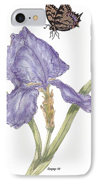 IPhone Case featuring the painting This Great Purple Butterfly by Stanza Widen