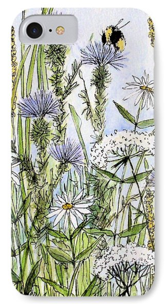 IPhone Case featuring the painting  Thistles Daisies And Wildflowers by Laurie Rohner