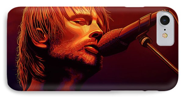 Thom Yorke Of Radiohead IPhone Case by Paul Meijering