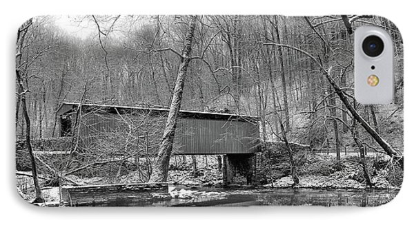 Thomas Covered Bridge In The Wintertime In Black And White IPhone Case