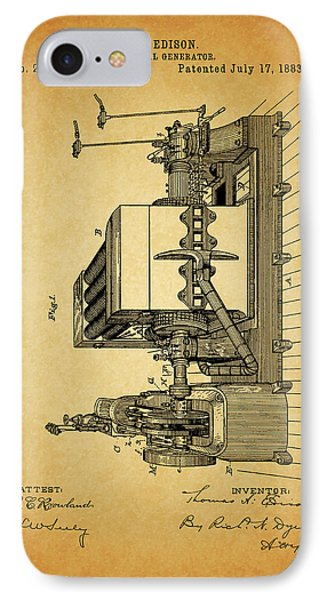 Thomas Edison Generator Patent IPhone Case by Dan Sproul
