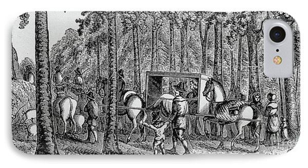 Thomas Hooker And His Congregation Traveling Through The Wilderness IPhone Case by American School