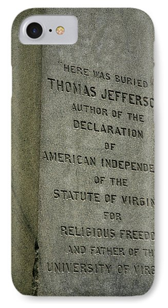 Thomas Jefferson Tombstone Close Up IPhone Case