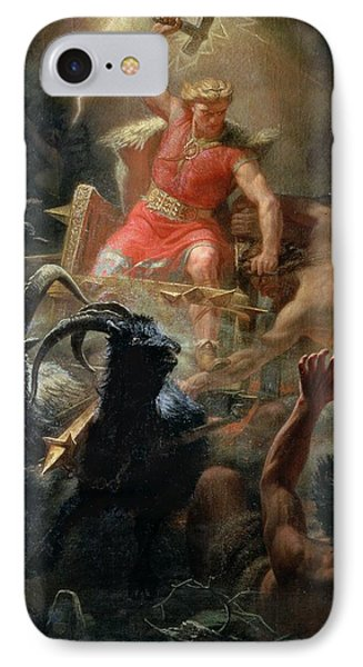 Thor Fighting With The Giants IPhone Case by Marten Eskil Winge