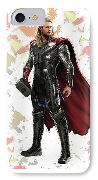 IPhone Case featuring the mixed media Thor Splash Super Hero Series by Movie Poster Prints