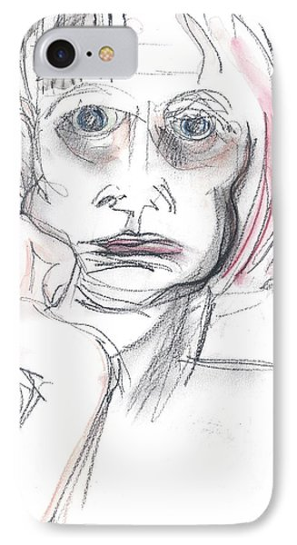 IPhone Case featuring the drawing Thoughtful - A Selfie by Carolyn Weltman