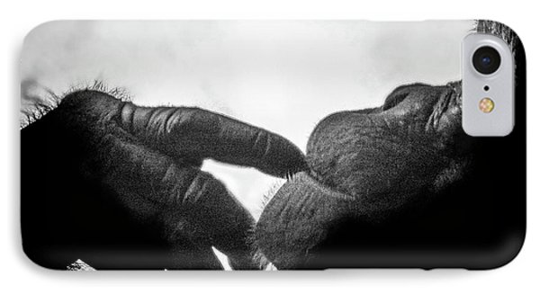 Thoughtful Chimpanzee IPhone Case by Marius Sipa