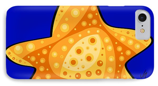 IPhone Case featuring the painting Thoughts And Colors Series Starfish by Veronica Minozzi