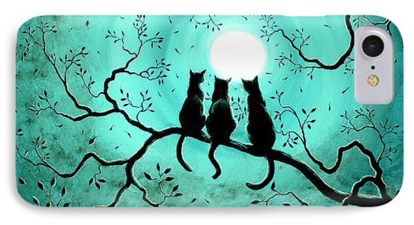 Three Black Cats Under A Full Moon IPhone Case