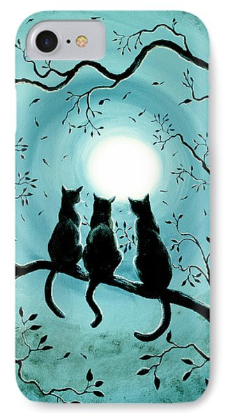Three Black Cats Under A Full Moon Silhouette IPhone Case by Laura Iverson