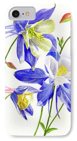 Three Blue Columbine Blossoms IPhone Case