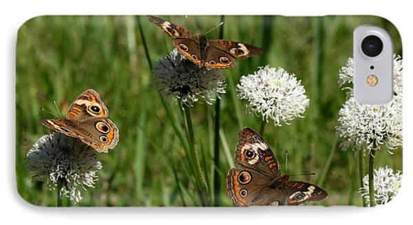 Three Buckeye Butterflies On Wildflowers IPhone Case by Sheila Brown