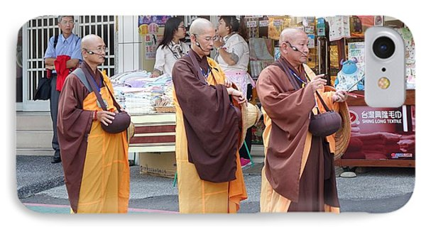 IPhone Case featuring the photograph Three Buddhist Monks Chant Scriptures by Yali Shi