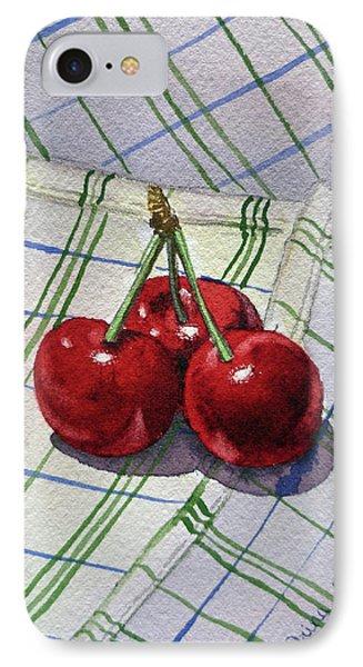 Three Sweet Cherries By Irina Sztukowski IPhone Case by Irina Sztukowski