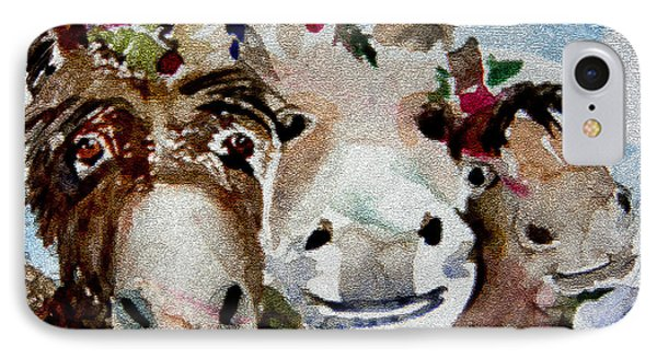 Three Christmas Donkeys IPhone Case by Mindy Newman