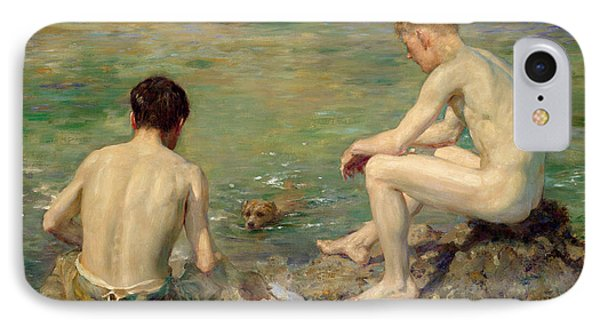 Three Companions IPhone Case by Henry Scott Tuke