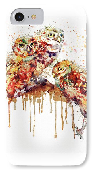 Three Cute Owls Watercolor IPhone Case by Marian Voicu