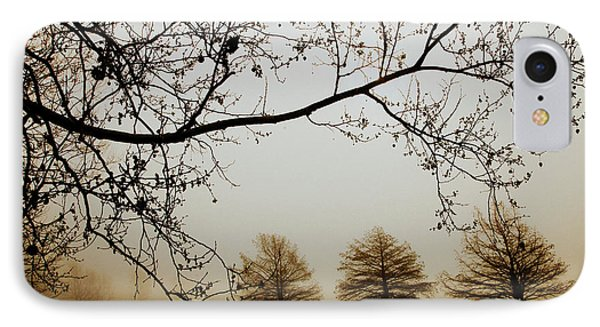 IPhone Case featuring the photograph Three Cypress In The Mist by Iris Greenwell