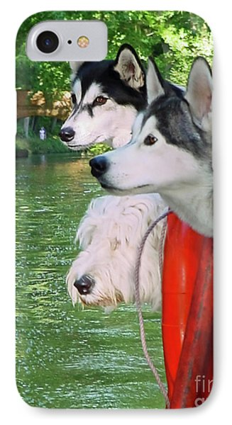 Three Dogs On A Boat Phone Case by Terri Waters