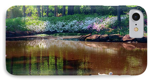 Three Ducks At The Azalea Pond IPhone Case by Tamyra Ayles