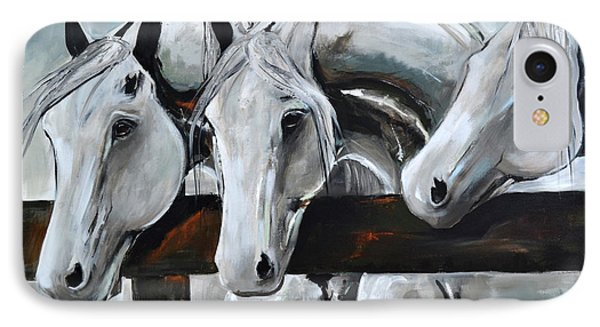 IPhone Case featuring the painting Three Greys by Cher Devereaux