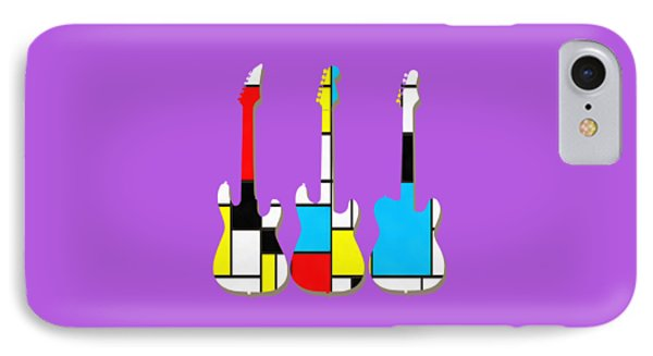 Three Guitars Modern Tee IPhone Case by Edward Fielding
