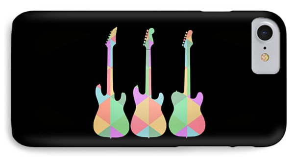 Three Guitars Triangles Tee IPhone 7 Case by Edward Fielding
