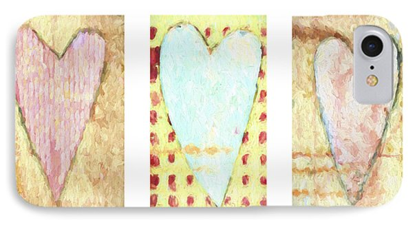 Three Hearts Triptych IPhone Case