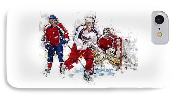 Three Hockey Players At The Goal IPhone Case by Elaine Plesser