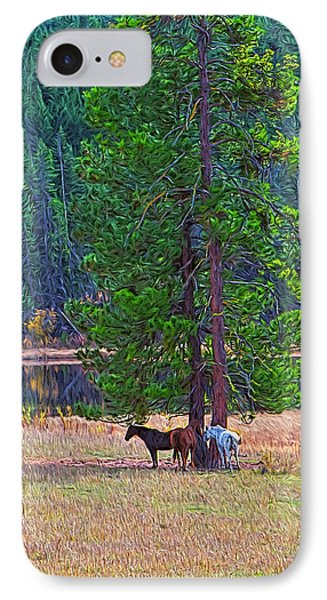 Three Horses Under A Pine Tree Digital Oil Painting IPhone Case by Sharon Talson