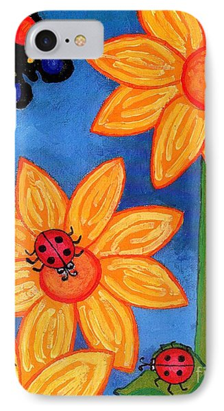 Three Ladybugs And Butterfly IPhone Case