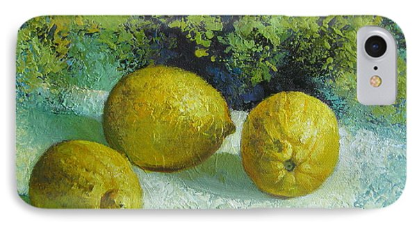 IPhone Case featuring the painting Three Lemons by Elena Oleniuc