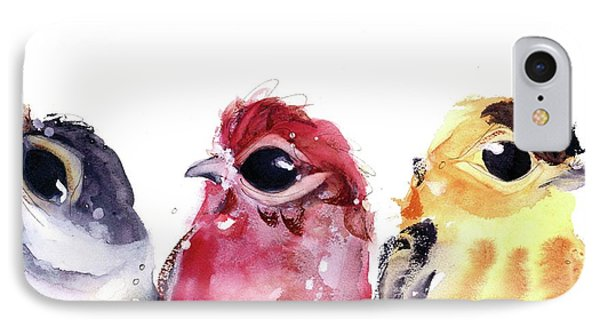 IPhone Case featuring the painting Three Little Birds by Dawn Derman
