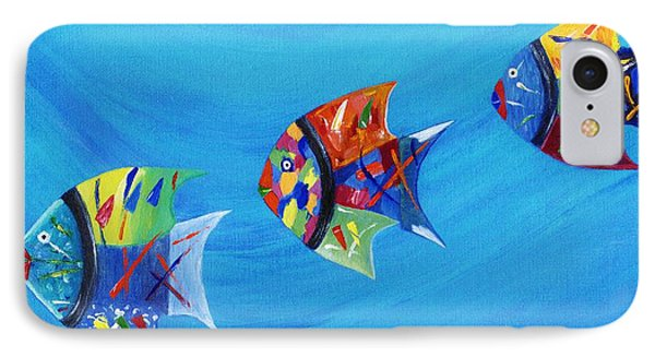 IPhone Case featuring the painting Three Little Fishy's by Jamie Frier
